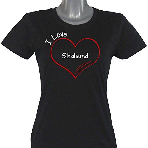 T-Shirt Modern I Love Stralsund schwarz Damen Gr. S bis 2XL